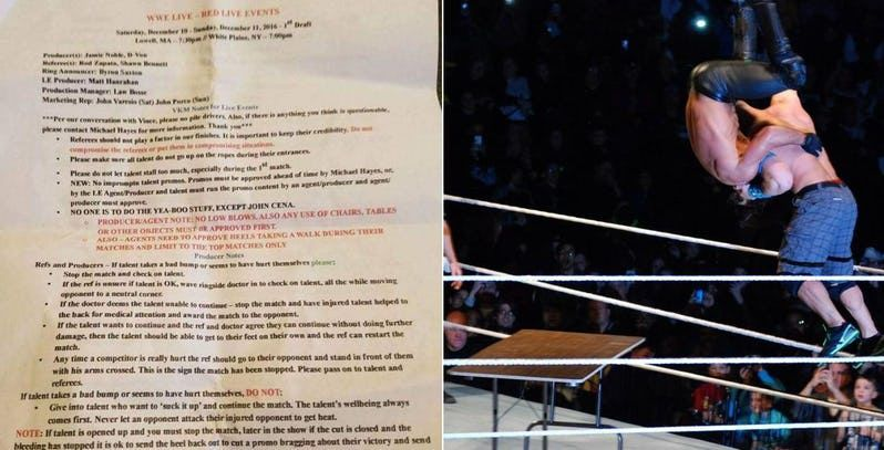 Certain actions are banned at WWE Live events according to a leaked document.
