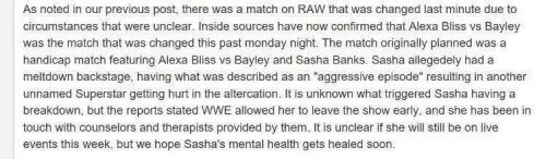 Uncredited report on Sasha Banks