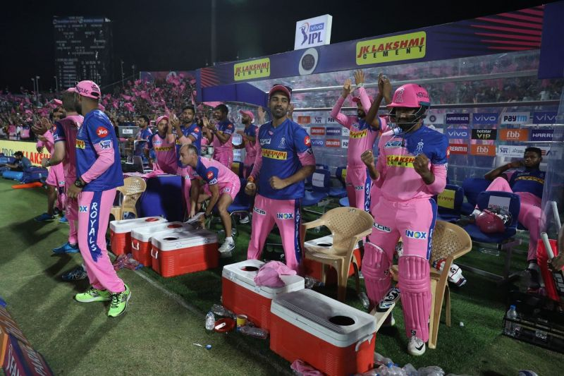 The Rajasthan Royals dugout after Stuart Binny hit the winning runs. Image Courtesy: IPLT20/BCCI