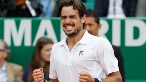 Guido Pella celebrating his victory over Marin Cilic in the second round of Monte Carlo Masters
