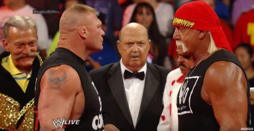 Hogan and Lesnar at the birthday celebration