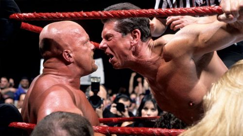 Vince McMahon faces off with Stone Cold Steve Austin during the Attitude Era.
