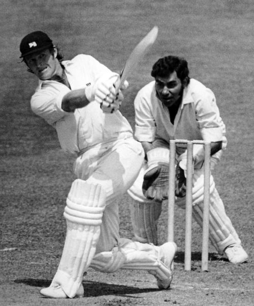 England's Dennis Amiss lofts the ball on the opening day of the World Cup in 1975 as Indian wicketkeeper Farokh Engineer looks on.