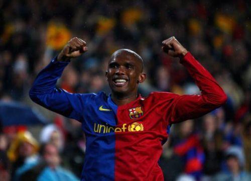 Samuel Eto'o in Barcelona jersey
