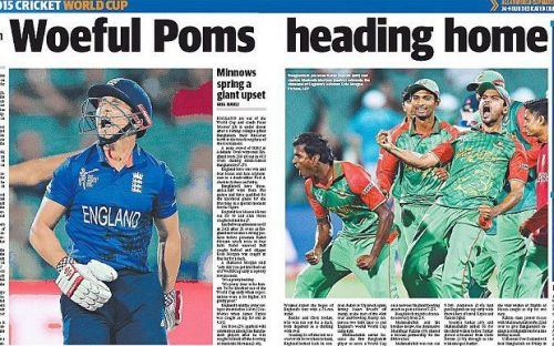 Papers taking a dig atthe performance ofthe England team in the 2015 WorldCup