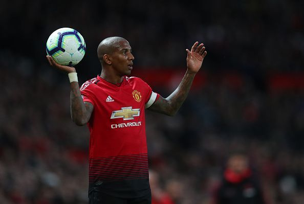 Manchester United's captain Ashley Young