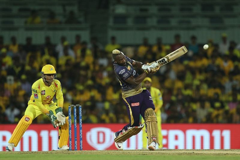 MS Dhoni(L) will have to come up with a plan to stop Andre Russell(R). (Image Courtesy: IPLT20)