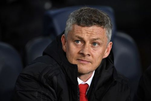 Solskjaer in the dugout for the Barcelona-Manchester United UCL Quarterfinal