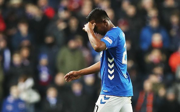 Morelos walks off the pitch after being sent off vs Aberdeen