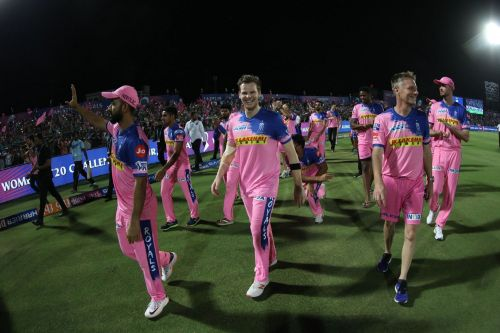 Rajasthan players did the lap of honour after the match as they ended their home season in this year's IPL with a win over SRH. (Image Courtesy : IPLT20/BCCI)