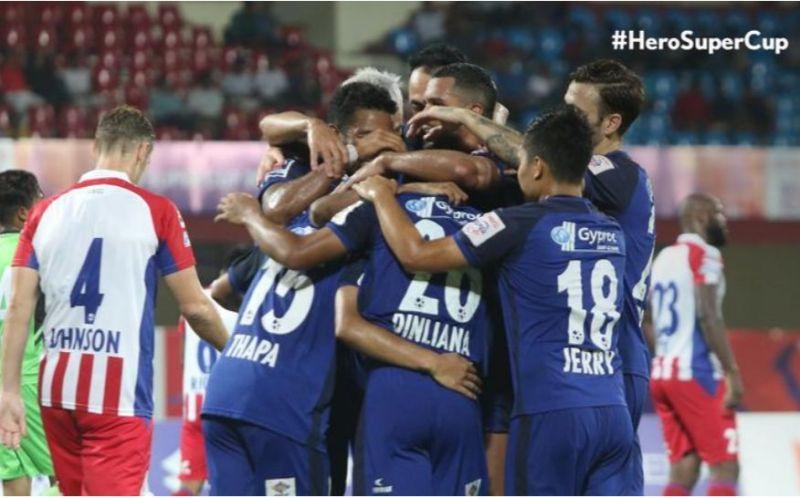 Chennaiyin players celebrating a goal