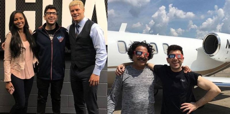 Shahid Khan (second from right) and Tony Khan (far right) are All In with All Elite Wrestling