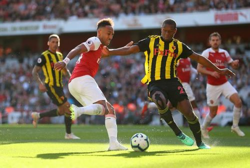 Arsenal's top goalscorer Aubameyang in action during their 2-0 win over Watford earlier this season