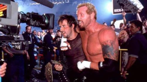 David Arquette celebrates his WCW World Championship win with DDP