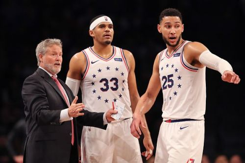 Head Coach Brett Brown with Tobias Harris and Ben Simmons