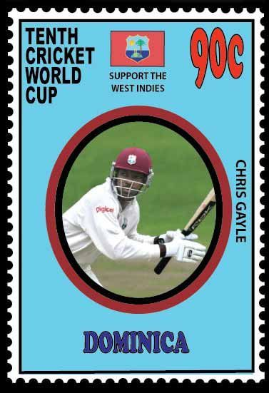CHRIS GAYLE FEATURING ON A STAMP OF DOMINICA FOR 2011 CRICKET WORLD CUP