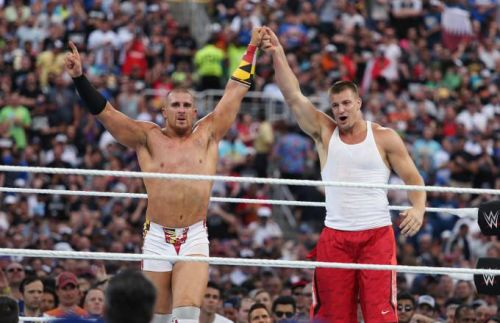 Mojo Rawley and Rob Gronkowski at WrestleMania 33