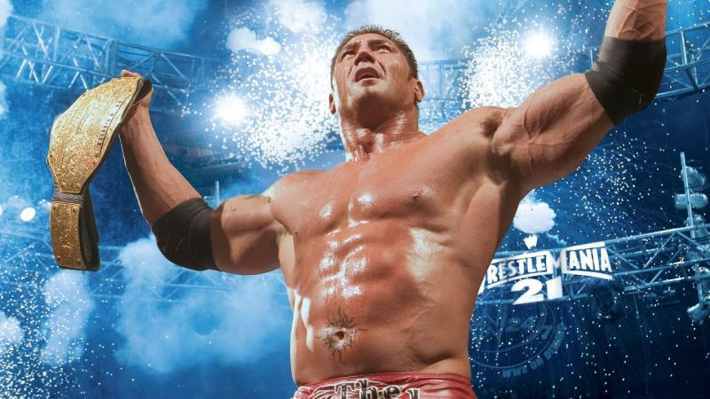 Batista, after winning his first of many World Championships, beating Triple H at WrestleMania 21.