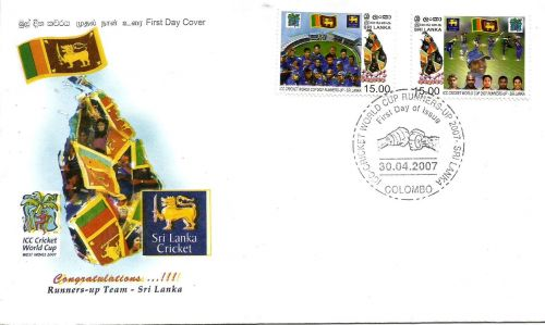 Stamps on 2007 Cricket World Cup runners-up Sri Lanka.