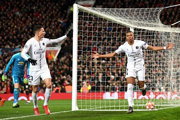 Mbappe against Manchester United in UEFA Champions League Round of 16
