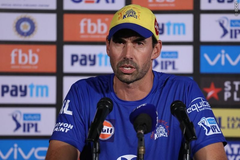Stephen Fleming during press conference Stephen Fleming during the press conference MS Dhoni