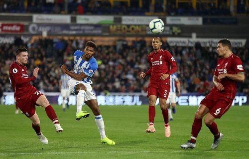 Action from Huddersfield Town v Liverpool FC Premier League match