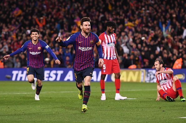 Messi wheels away to celebrate his finish, ensuring the game was beyond any doubt late on