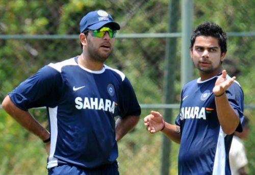 Virat Kohli and Yuvraj Singh (left) during Kohli's debut international year