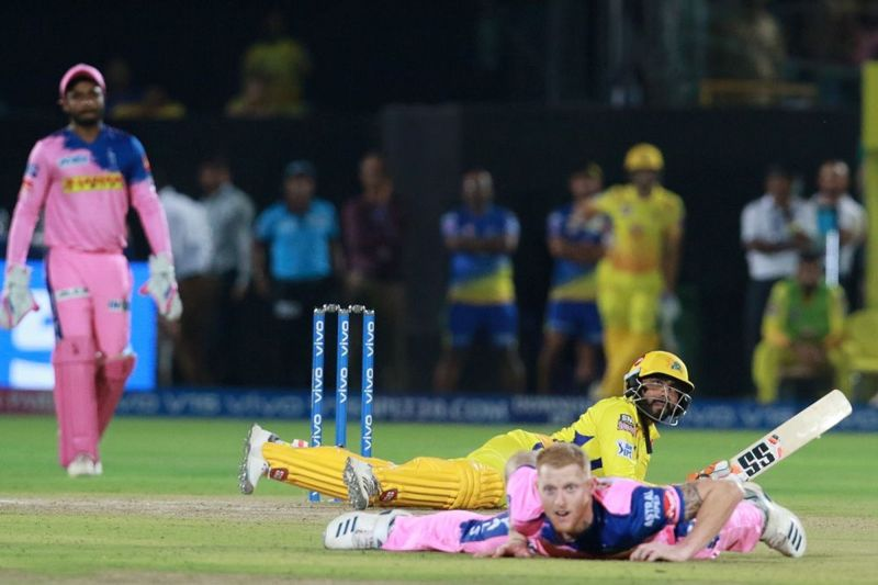 Jadeja fell to the ground after hitting Ben Stokes for six (Pic credits: BCCI)