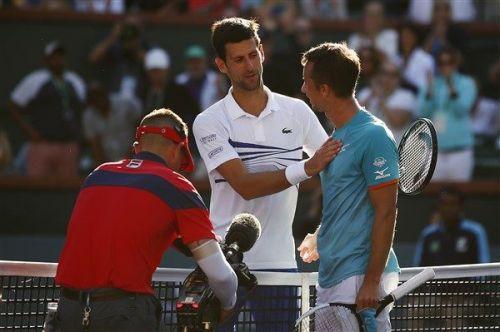 Philipp Kohlschreiber and Novak Djokovic after their third round match in Indian Wells 2019