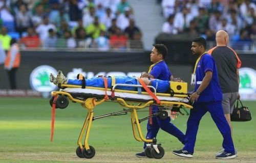Pandya being stretchered off the field during the 2018 Asia Cup