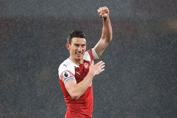 Laurent Koscielny in action for Arsenal FC against Manchester United