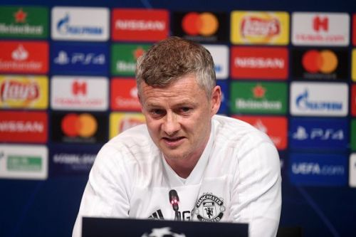 United Manager Soskjaer during the pre-match press conference