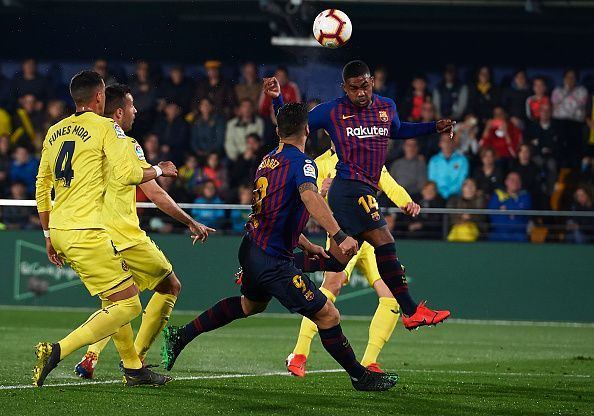 Malcom steered his header back across goal to double Barca's lead - his first goal in the La Liga this season