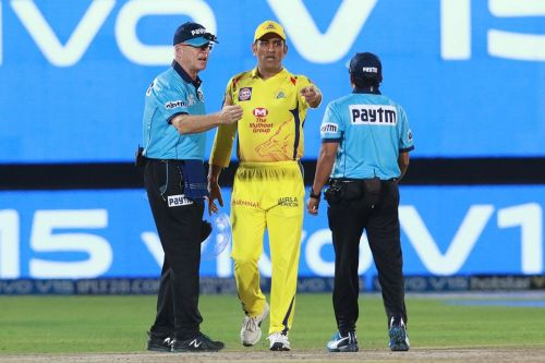 MS Dhoni walks on to the pitch [Image: BCCI/IPLT20.com]
