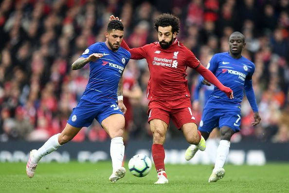 Emerson struggled against former teammate Salah, who constantly ran rings around the Italian