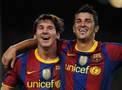 Barcelona v Panathinaikos FC - UEFA Champions League David Villa and Lionel Messi