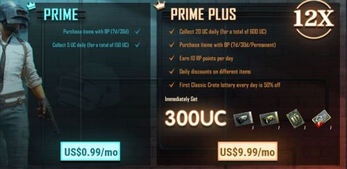 PUBG Mobile Prime and Prime Plus subscription