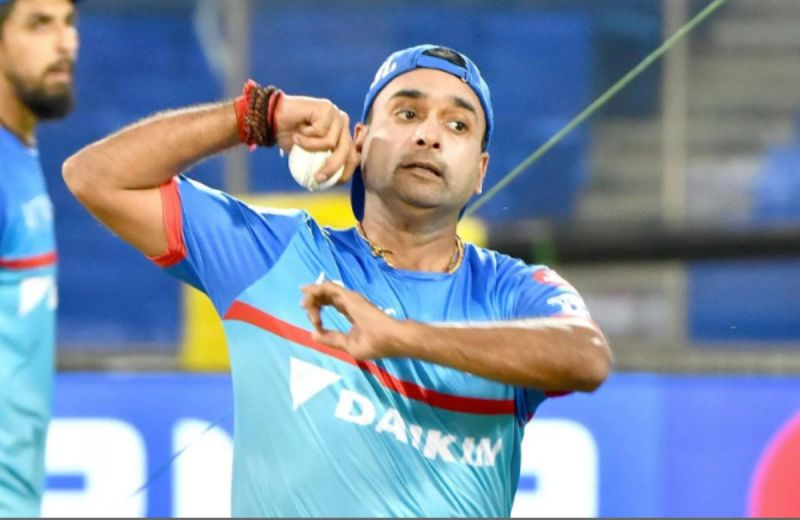 Amit Mishra during a practice session