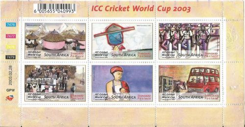 A MINIATURE SHEET ISSUED BY SOUTH AFRICA TO COMMEMORATE 2003 CRICKET WORLD CUP