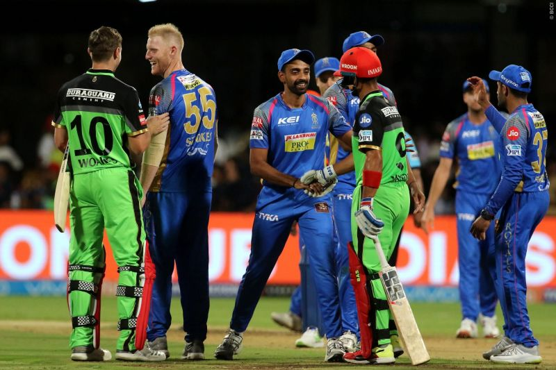 Rajasthan Royals and Royal Challengers Bangalore (picture courtesy: BCCI/IPLT20.com)