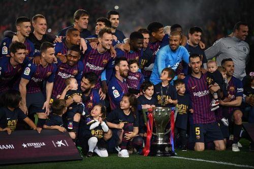 Messi's second-half strike saw Barcelona lift their second successive La Liga title on Saturday