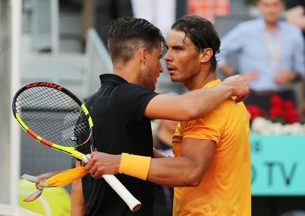 Dominic Thiem and Rafael Nadal after their quarter-final match at the Madrid Open 2018
