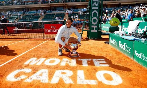 Monte Carlo Masters 2018:Rafael Nadal poses with the trophy