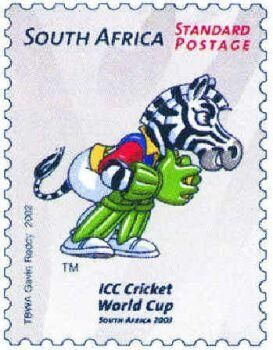 DAZZLE -THE MASCOT FOR 2003C CRICKET WORLD CUP ON A SOUTH AFRICAN STAMP