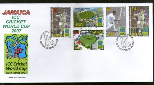 Stamps and first-day cover issued by Jamaica to commemorate 2007 Cricket World Cup.