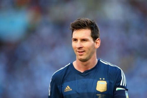 Lionel Messi in famous Albiceleste shirt in 2014 FIFA World Cup
