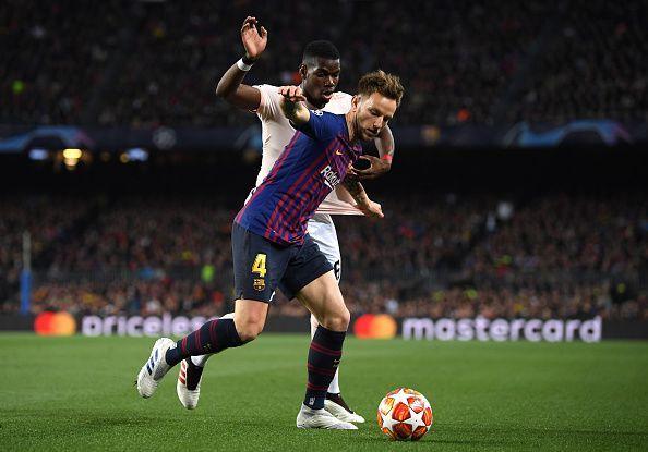 Rakitic in action against Manchester United - UEFA Champions League Quarter Final: Second Leg