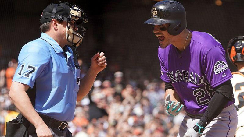 Nolan Arenado argues call