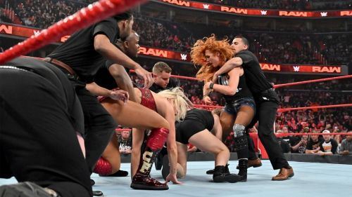 Charlotte Flair, Becky Lynch, and Ronda Rousey brawled on RAW, which was the highlight of the night
